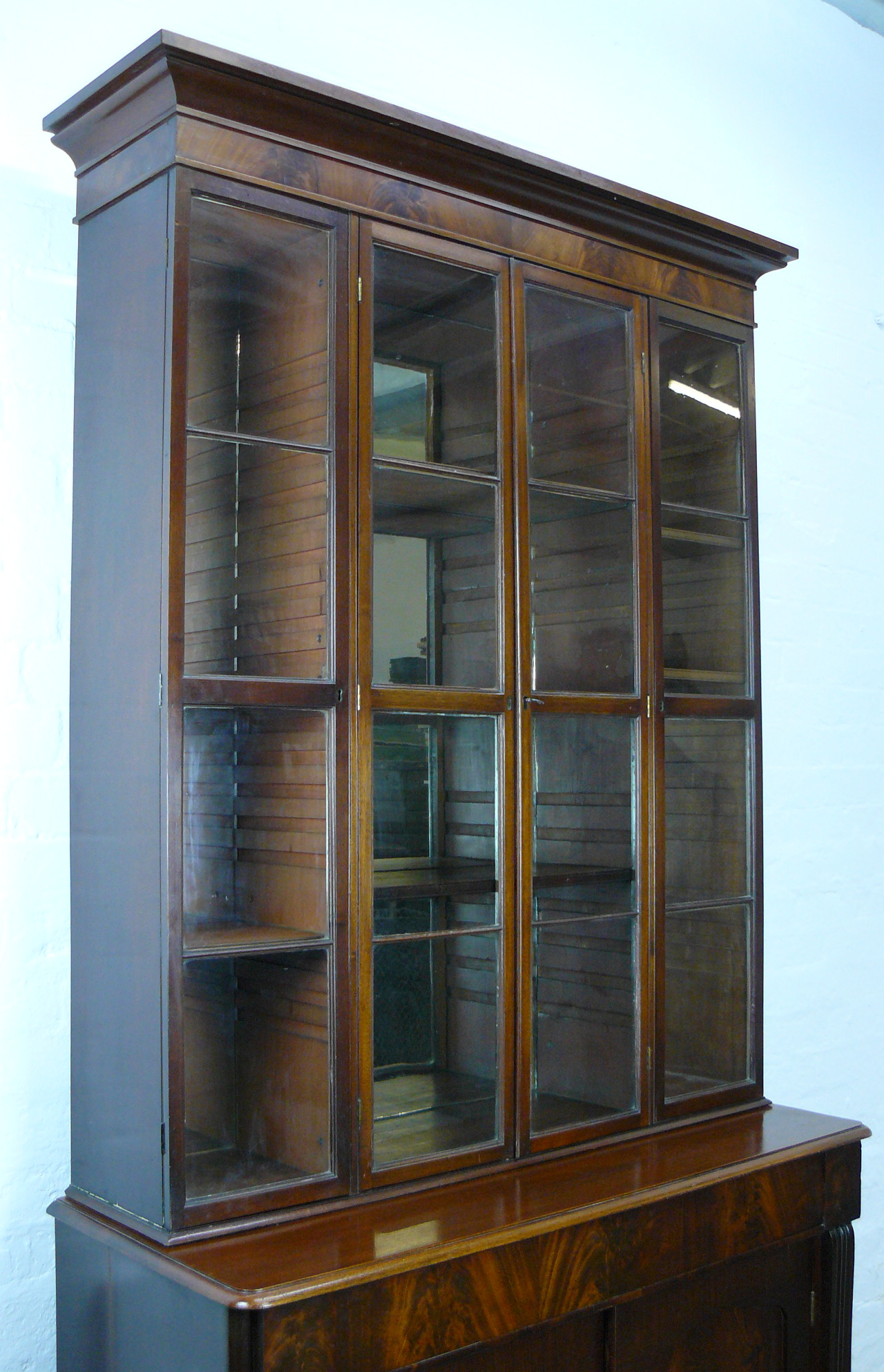 A Lovely Large Edwardian Mahogany Shop Original Mirrors Home Display Cabinet