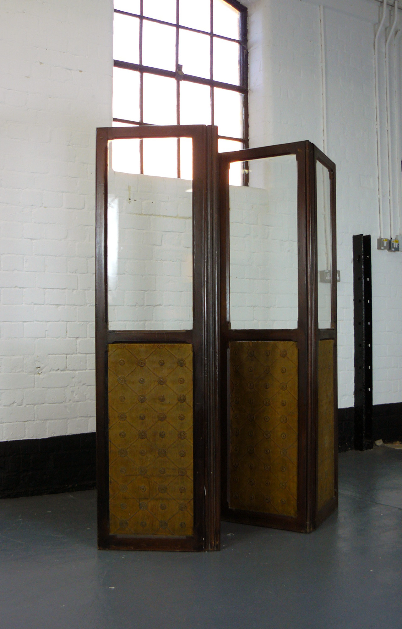 Half Glazed Victorian 4 Fold Screen Room Divider Country