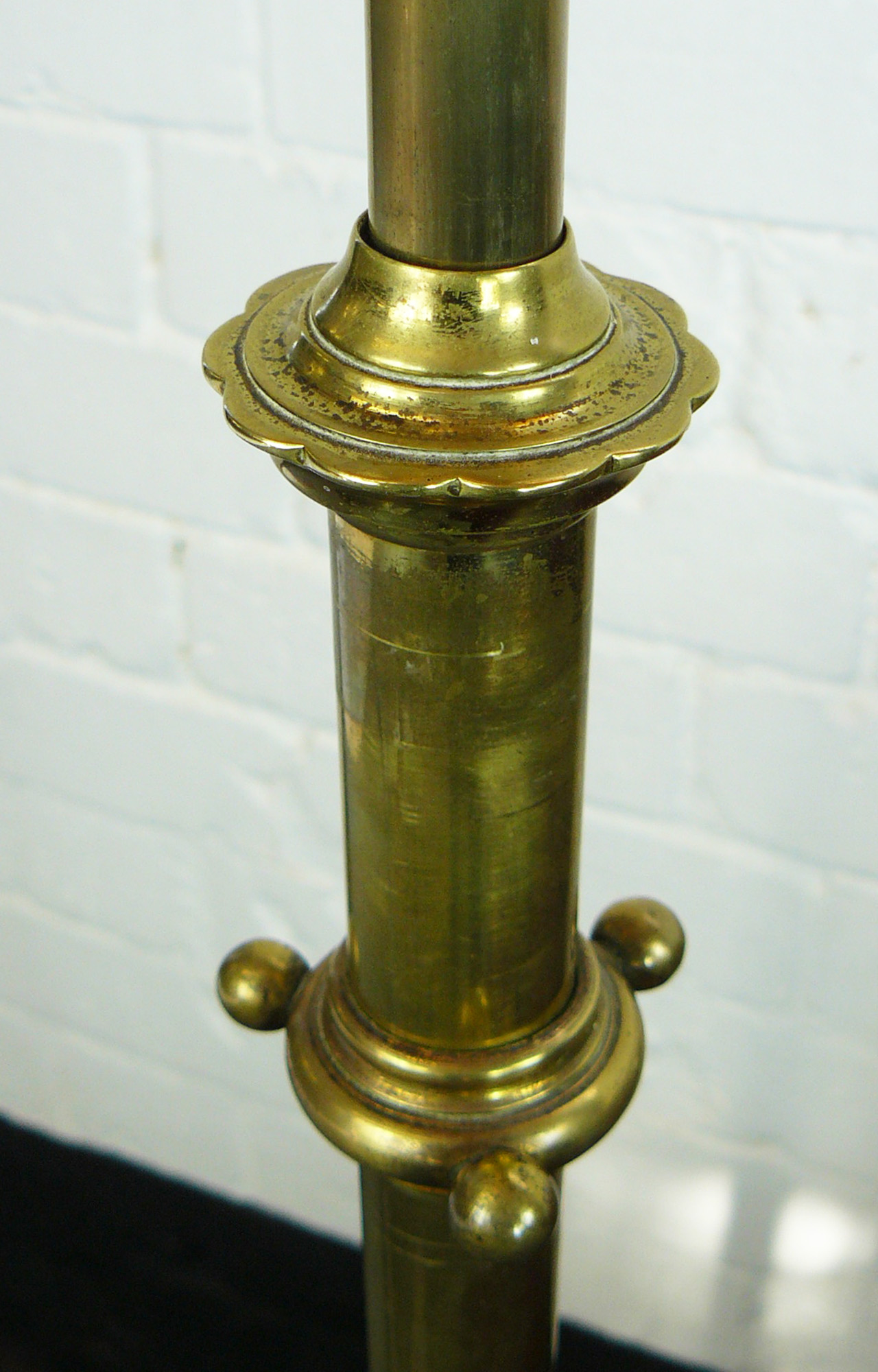 1930 S Brass Telescopic Standard Lamp Rewired And Pat Tested